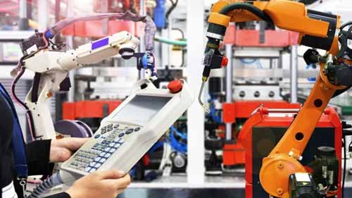 An image of a technician controlling an automation technology