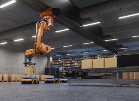 A robot arm handling packages at a warehouse