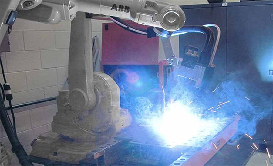 Welding robot in action