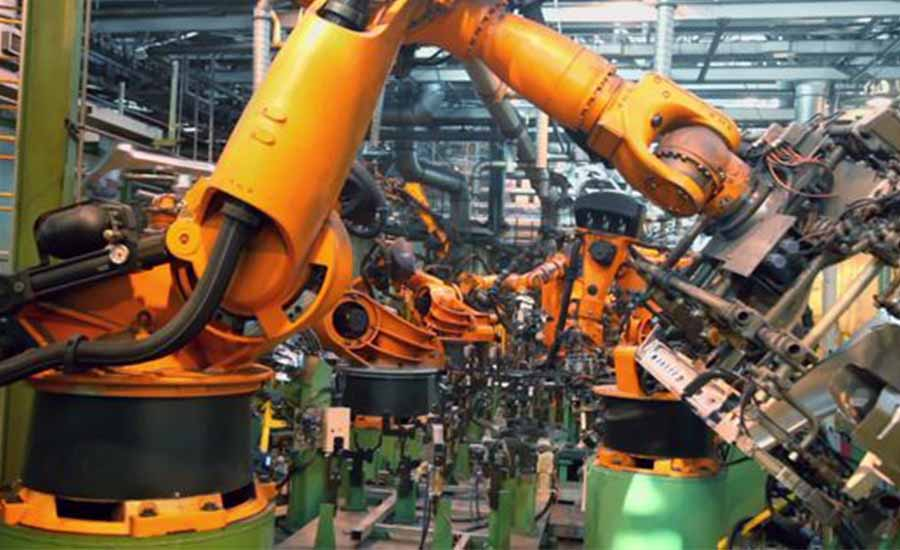 Car assembly line robots