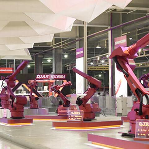 Industrial robots on display
