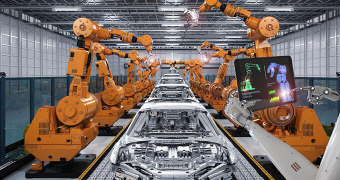 Robots used in an assembly line