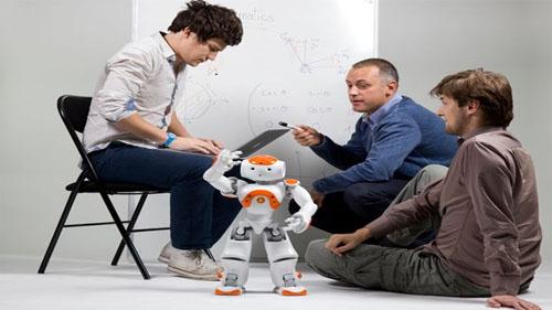 Team repairing a robot